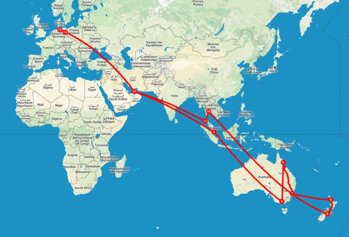 Neuseeland und Australien mit Kind: Die Route