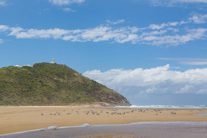 Blick auf dem Leuchtturm vom schönen Strand des Nationalparks