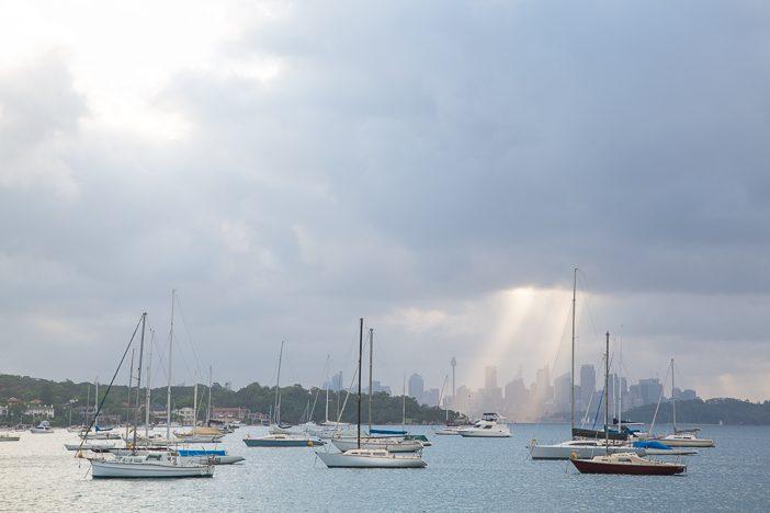 Sydney Skyline vom Bootsanleger in Watson Bay