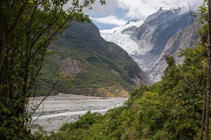 Erster Blick auf den Franz Josef Gletscher