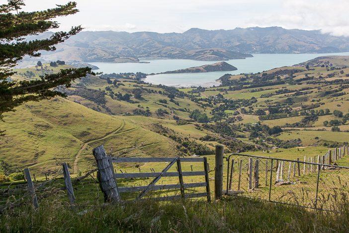 Blicke entlang der Summit Road nach Akaroa