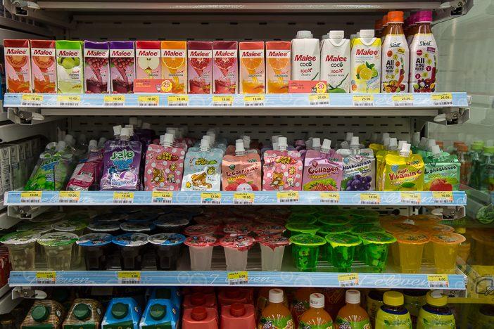 Die Auswahl an zuckeriger Babynahrung in einem Supermarkt