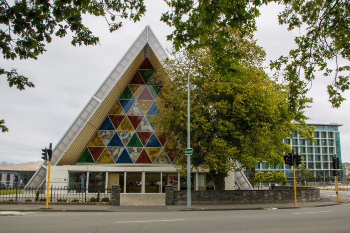 Cardboard Cathedral (Christchurch Transitional Cathedral) als temporärer Ersatz für die zerstörte Christchurch Cathedral