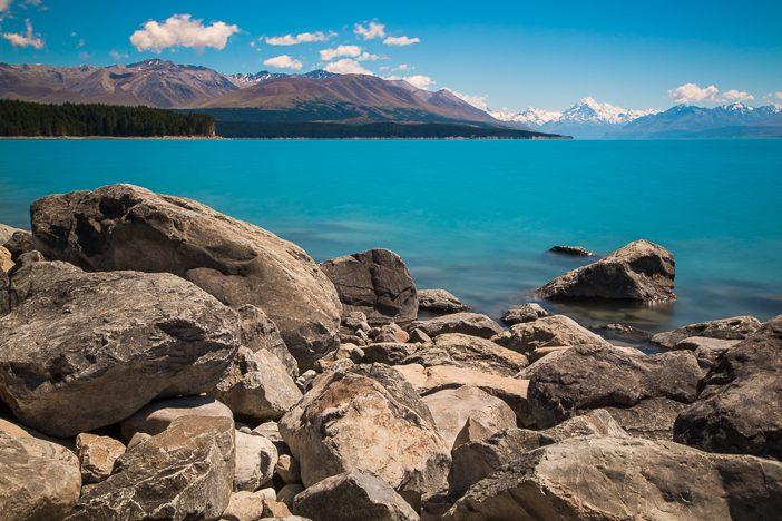 Lake Pukaki mit Mount Cook im Hintergrund