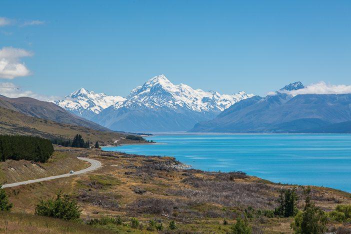 Aussichtspunkt auf dem Weg nach Mount Cook Village