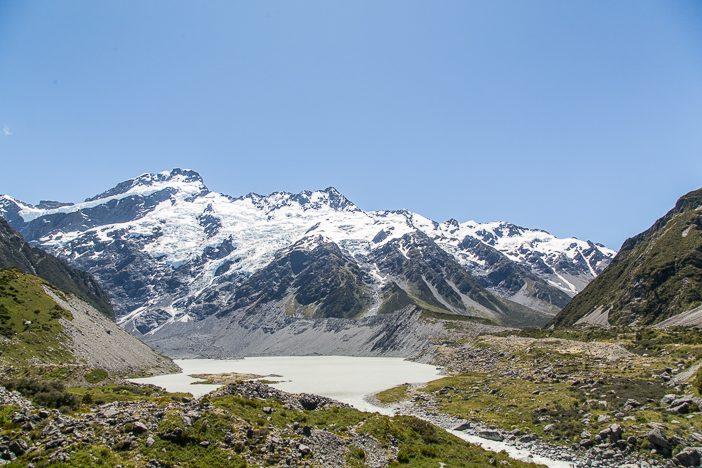 Mueller Glacier Lake auf dem Hooker Valley Track