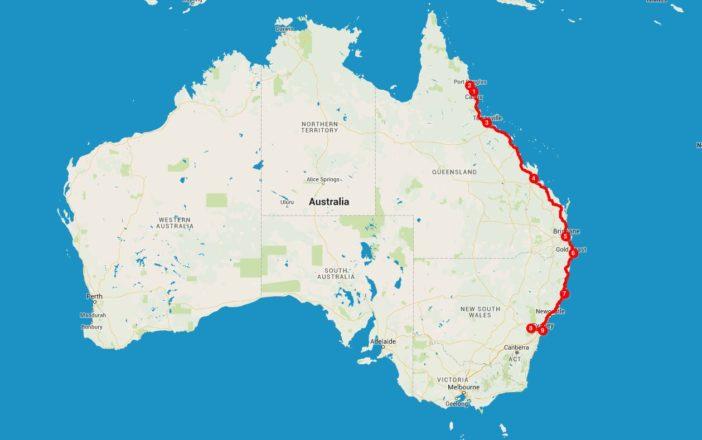Die Route entlang der australischen Ostküste