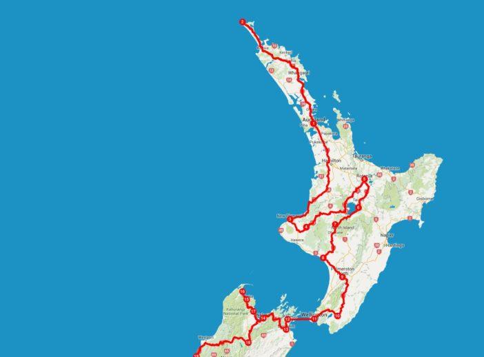 Unsere Strecke auf der neuseeländsichen Nordinsel im Detail