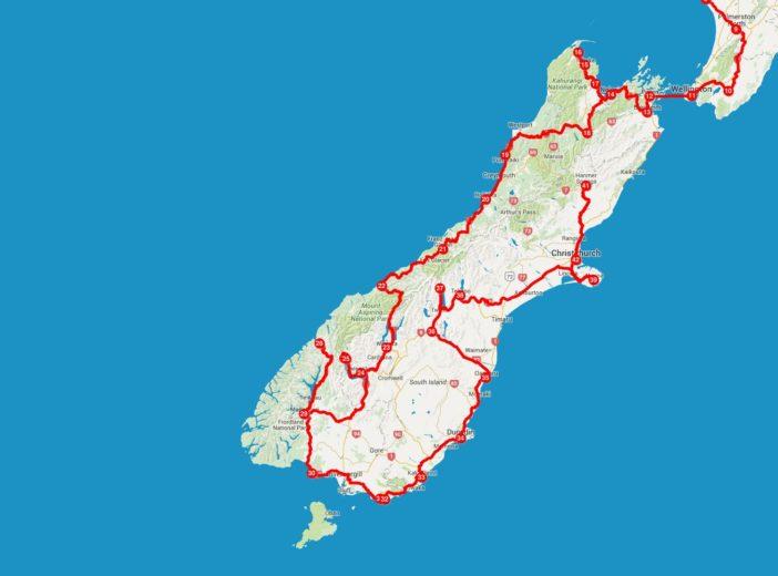 Unsere Strecke auf der neuseeländsichen Südinsel im Detail
