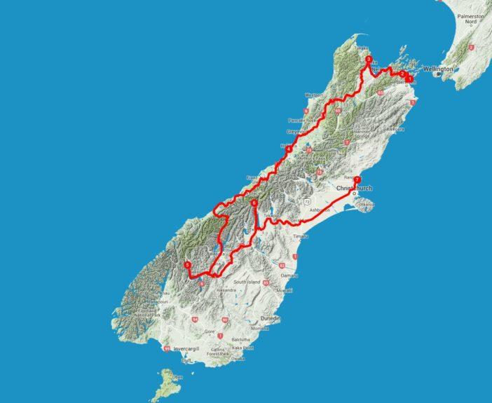 Karte Neuseeland Südinsel Camping